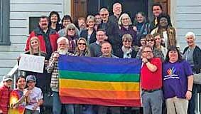 MHUMC with rainbow flag
