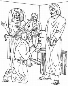 """Coloring page: """"Doubting Thomas"""" with Jesus"""