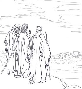 Coloring page: Jesus meets the disciples on the road to Emmaus