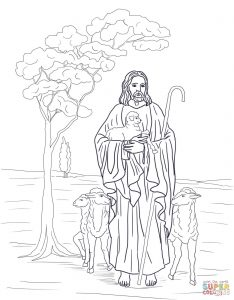 Coloring page: Jesus the Good Shepherd