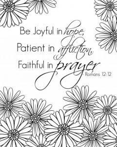 Coloring page: Romans 12:12