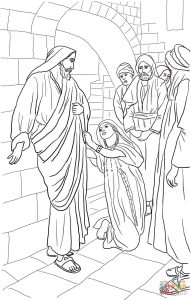 Coloring Page: Jesus heals Canaanite woman's daughter