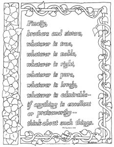 Coloring page: Philippians 4:8