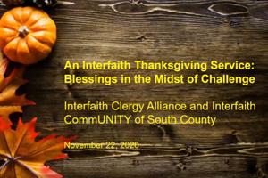 November 22, 2020: Interfaith Thanksgiving Service