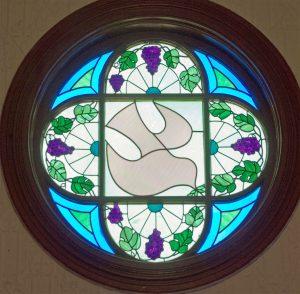 MHUMC window: Spirit descending as a dove