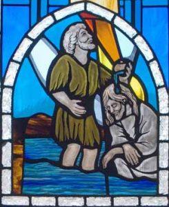 MHUMC window: Baptism of Jesus