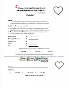 Estimate of Giving - Pledge Card